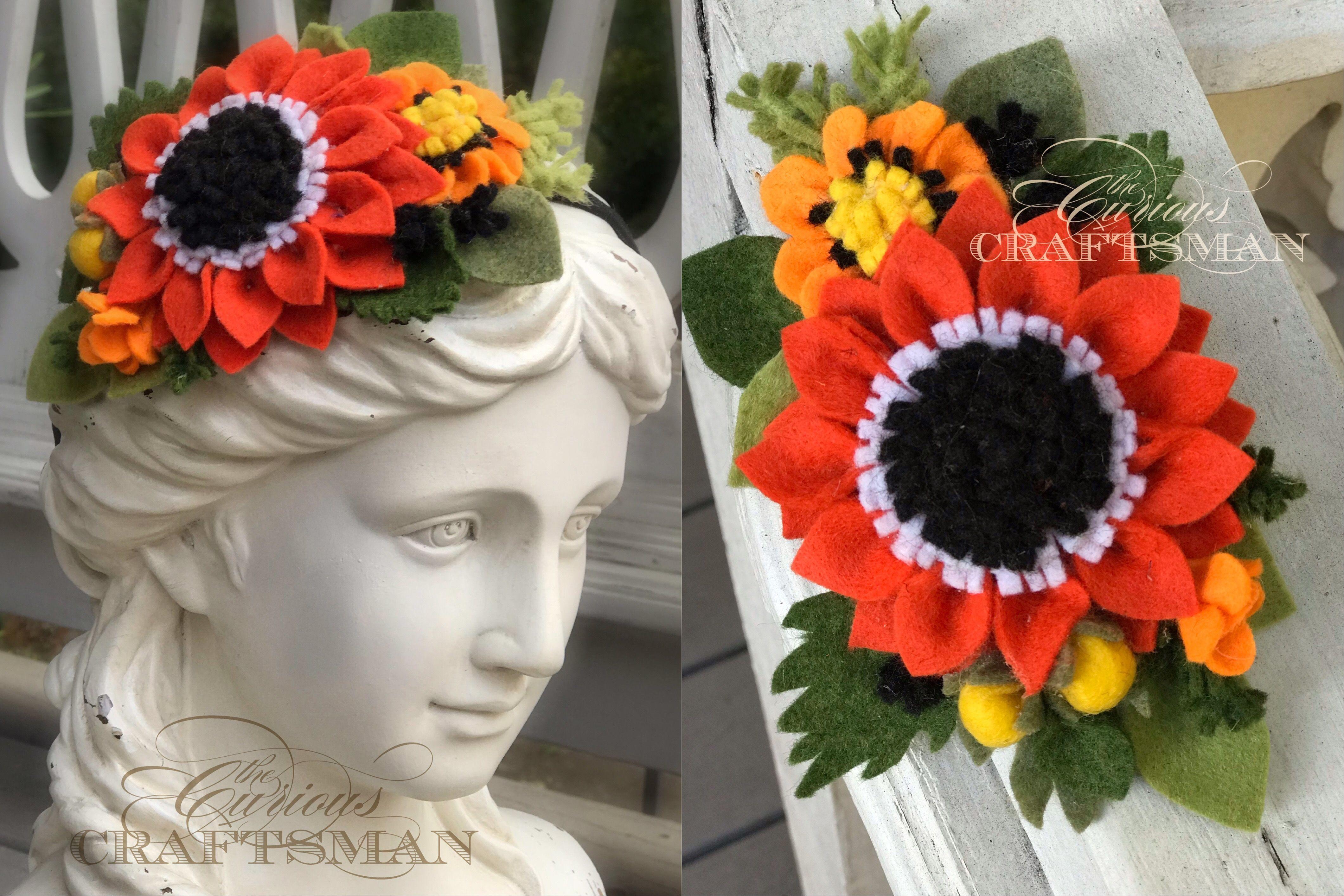 Fall | Halloween Felt Sunflower Headband #feltflowerheadbands A new #CuriousCraftsman creative venture: Felt Flower Headbands for all those little fashionistas out there!