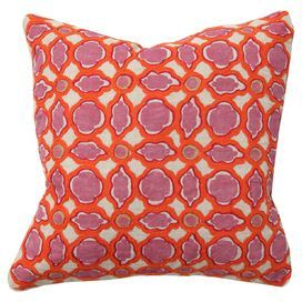 Geometric-print linen pillow with a feather-down fill and embroidered details.   Product: PillowConstruction Material: Linen, cotton and feather/down insertColor: Pink and orangeFeatures:  Print and embroidered  frontWill enhance any setting Dimensions: 18 x 18