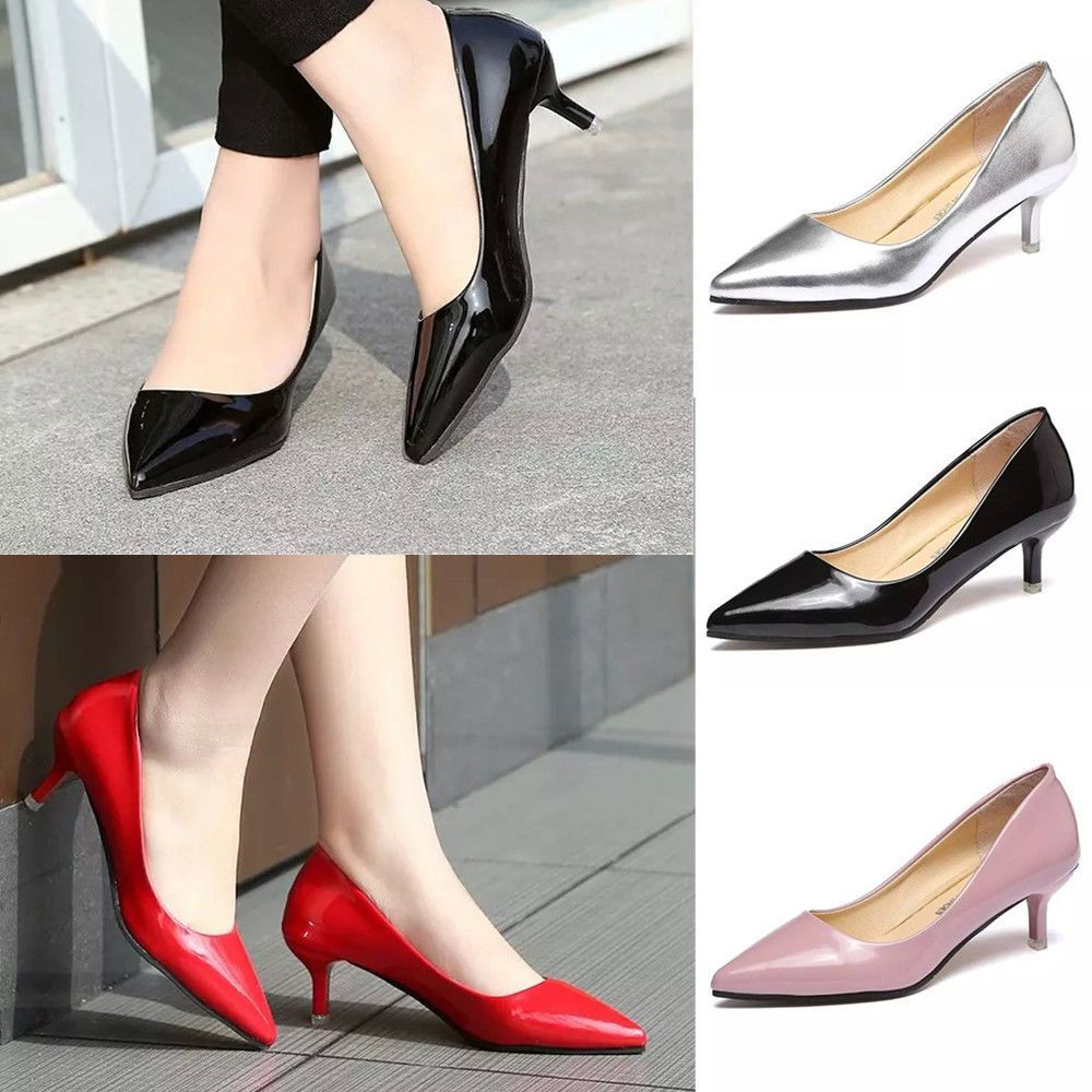 Women S Low Mid Kitten Heels Office Work Patent Leather Pointed Toe Pumps Shoes Women Shoes Heels Dressy Shoes