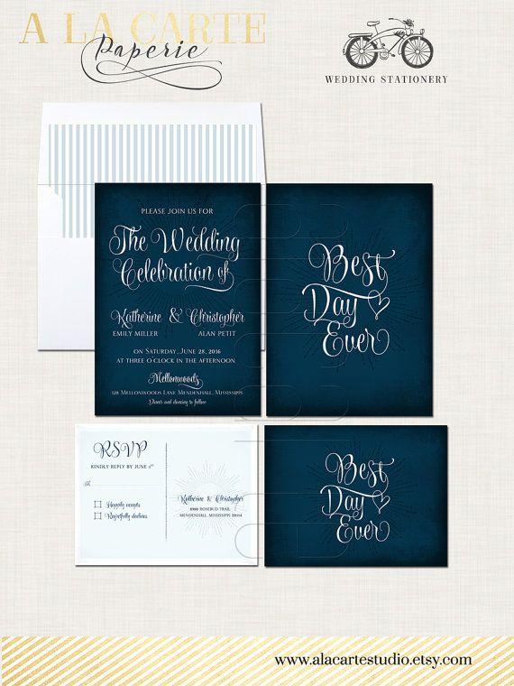 Best Day Ever Navy Chalkboard Wedding Invitation Card and RSVP card - best of wedding invitation design fonts