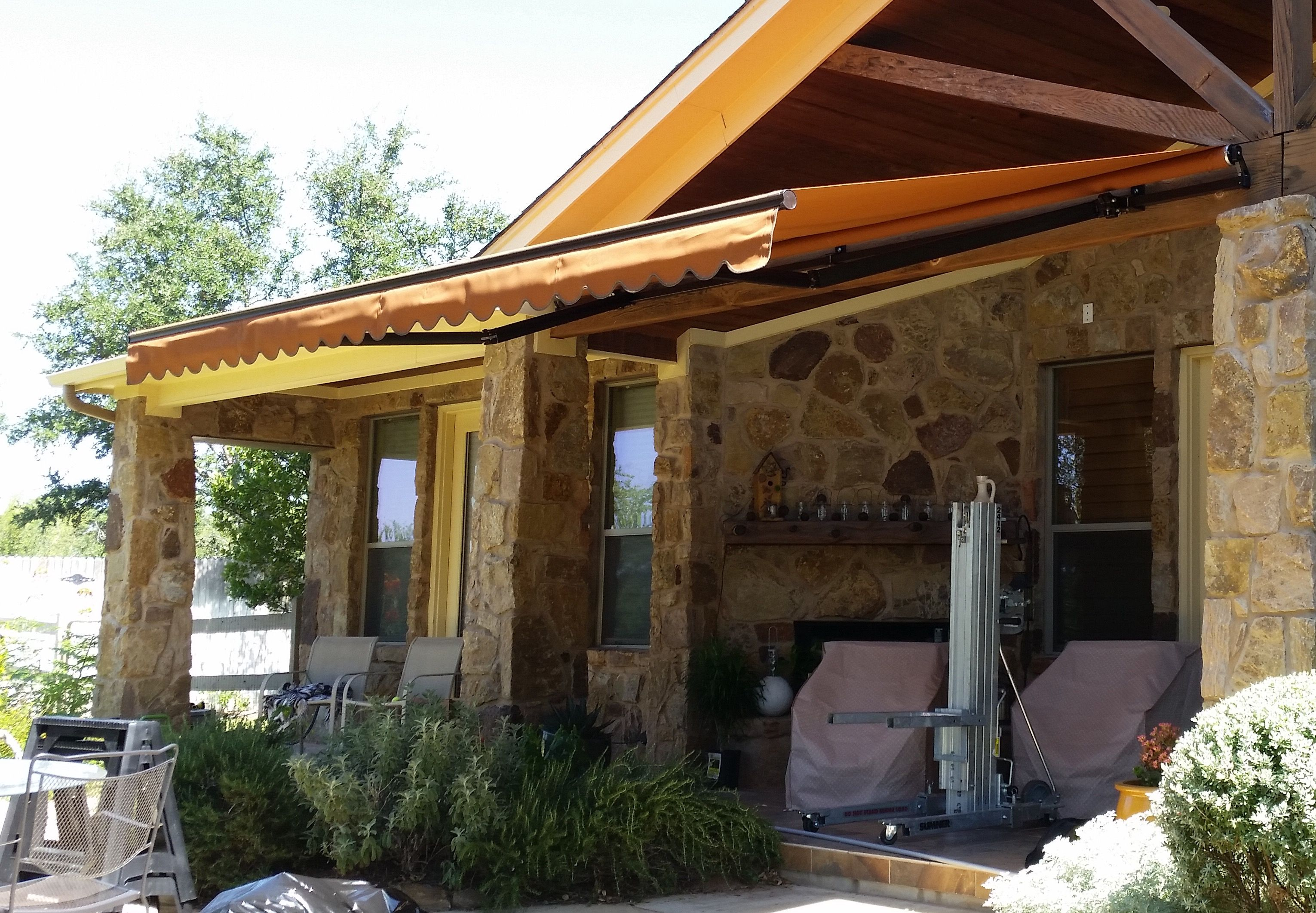 Automated retractable awning.   Retractable awning ...