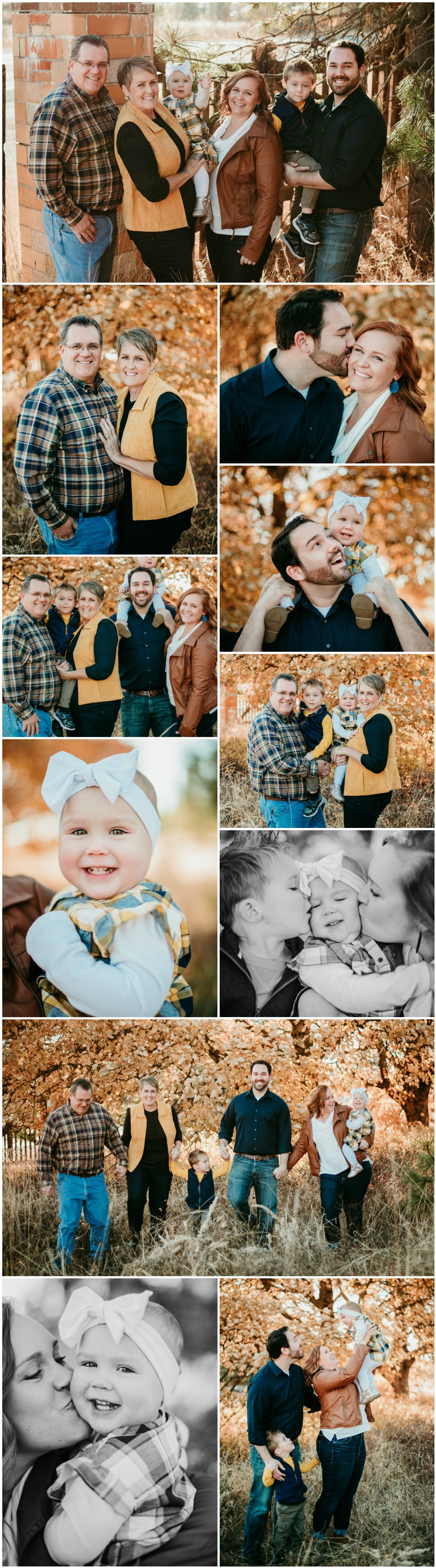 Extended Family Photo Session in Fall During Golden Hour in Spokane, Washington #extendedfamilyphotography