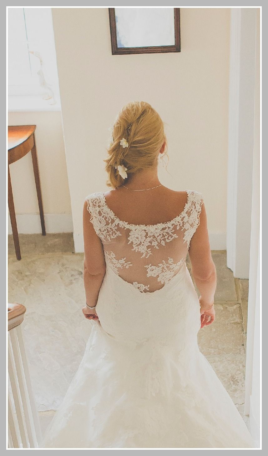 Lace back fishtail skirt. Lace wedding dress. Dana Bolton