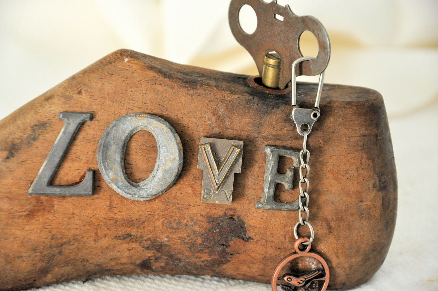 "Metal Letters On Wood Wood Shoe Form With Vintage Metal Letters ""love""$55.00 Via Etsy"
