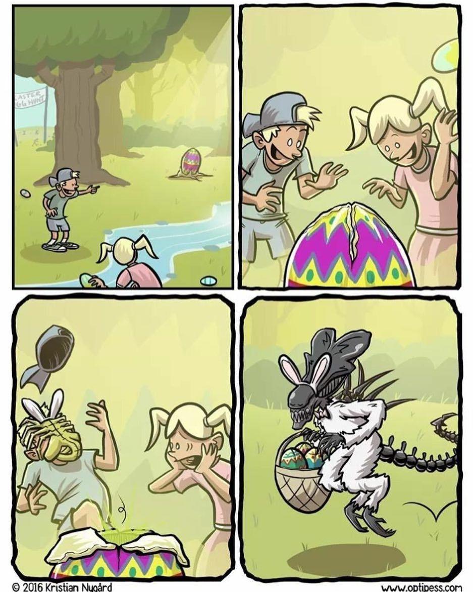 HappyEaster SundayFunnies! Easter Aliens art by