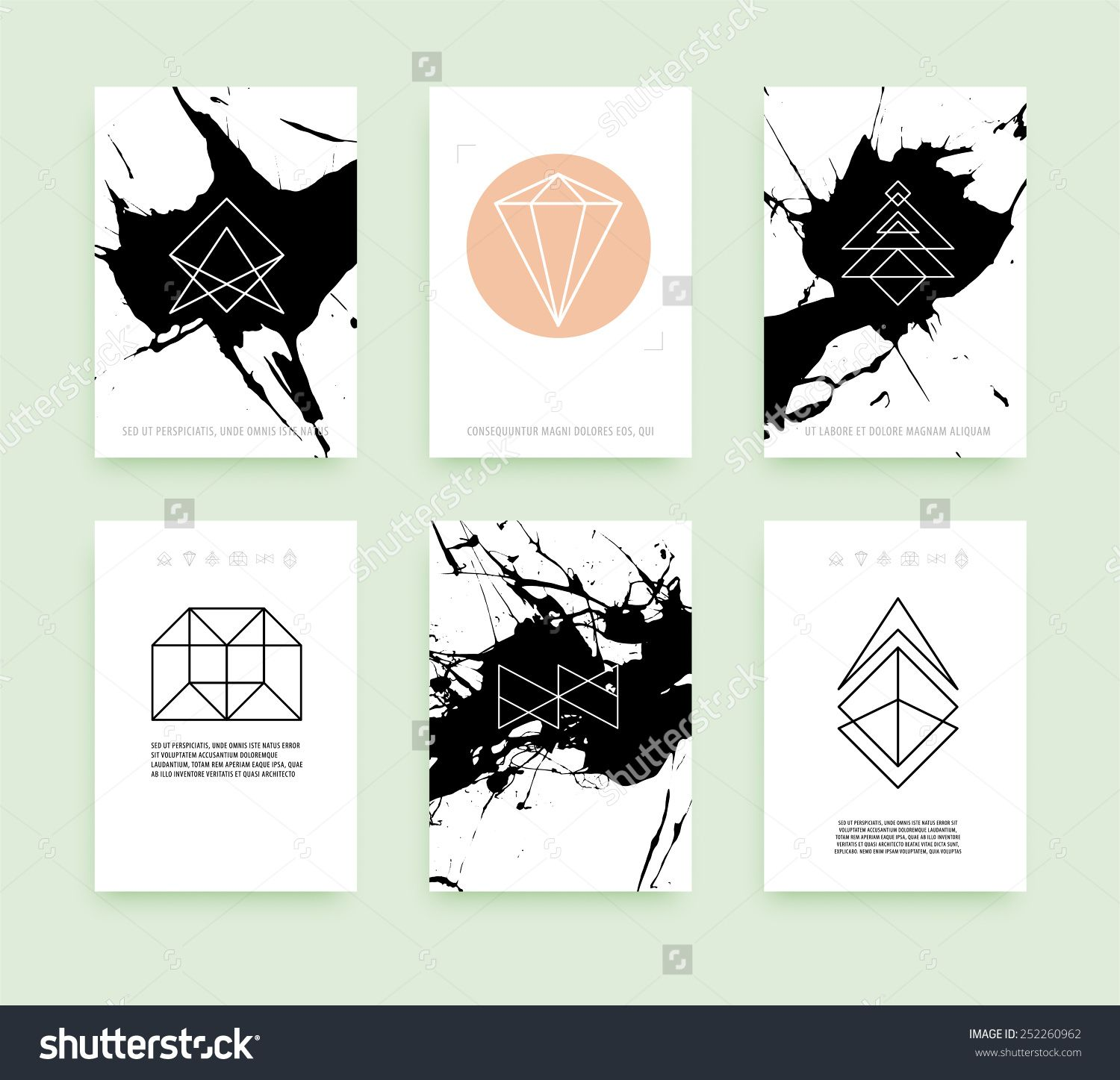Set of Business Card Templates. Line Geometric Hipster Symbols for ...