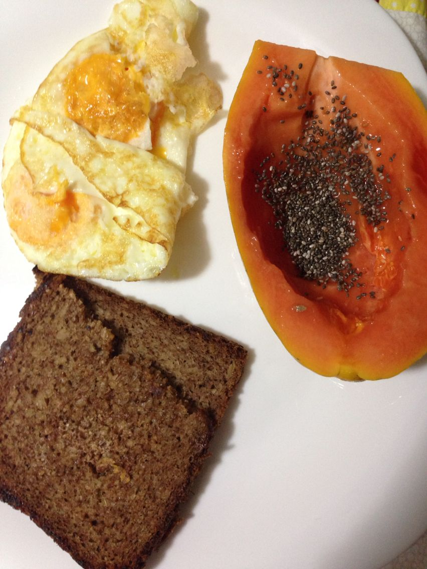 Ideas for breakfast: German bread  with butter, papaya with chia seeds, eggs - protein, good fat, carbs and fiber!!!