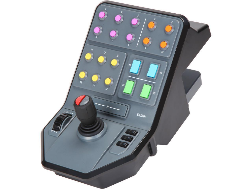 The Side Panel Loader Control Stick Has A Cruise Control Speed Dial And 37 Programmable Buttons For Various Simulator Games Panel Siding Sims Logitech