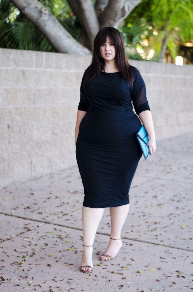 Plus Size Bodycon Dress Black Dress Sexy Modern Clean Fashion
