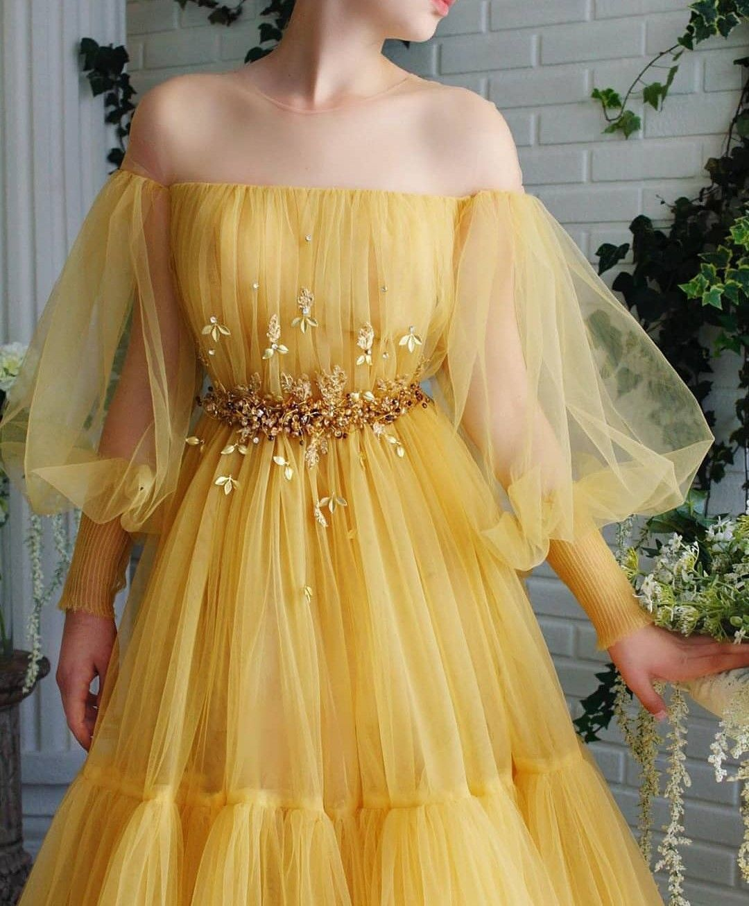 Sunflower Dress Prom Dresses Long With Sleeves Prom Dresses Yellow Prom Dresses [ 1306 x 1080 Pixel ]