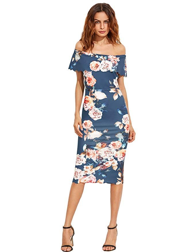 MAKEMECHIC Women s Floral Pencil Dress Knee Length Off Shoulder Cocktail  Dress Blue M 38d807003803