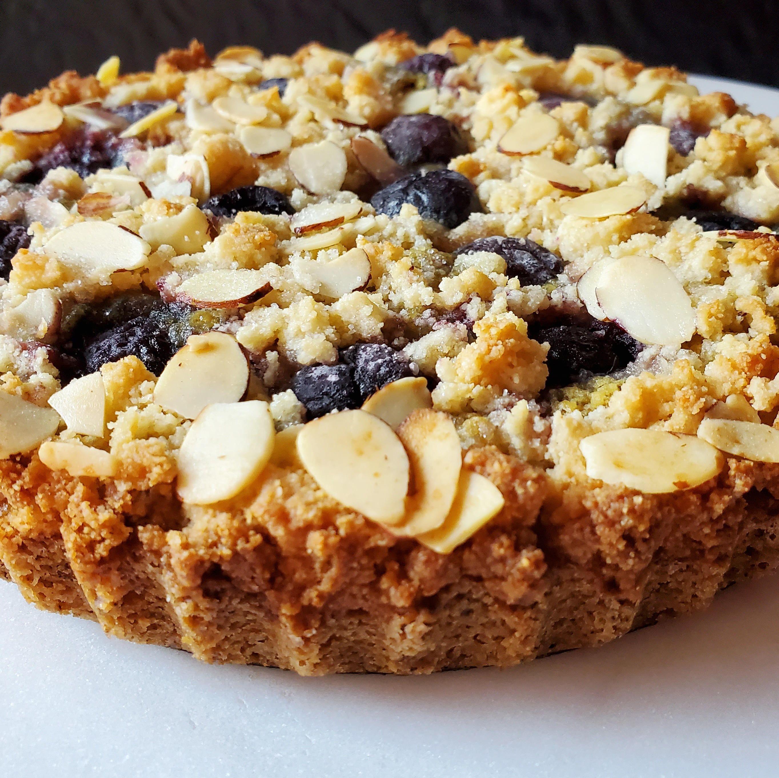 Dark cherry almond coffee cake low carb glutenfree