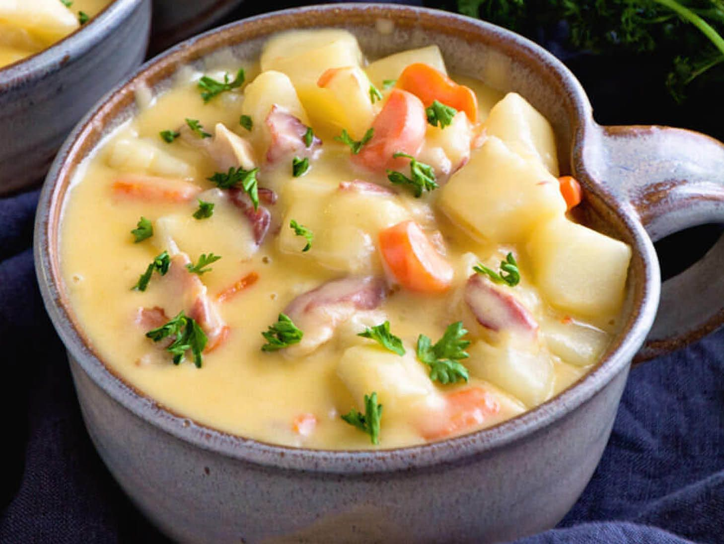 Cheesy Bacon Potato Soup Bacon soup recipes, Soup