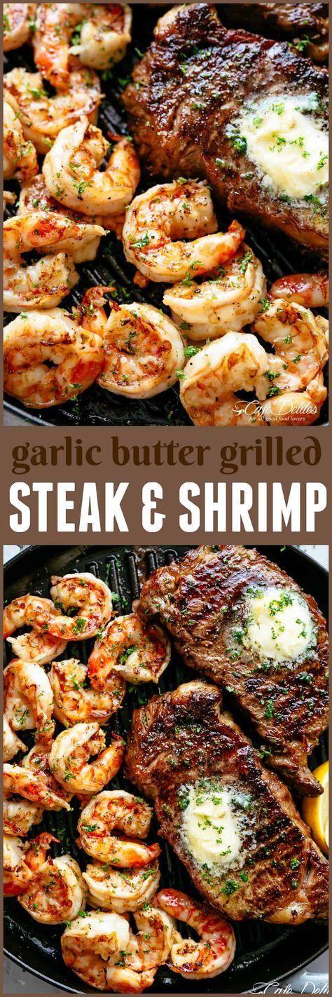Knoblauchbutter Gegrilltes Steak & Shrimps - Cafe Delites   - Rezepte / Cocktails -