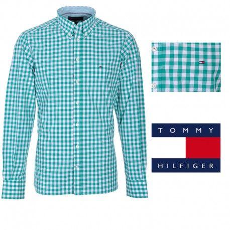 814f1bf47 Camisa de cuadros para hombre de Tommy Hilfiger en color verde y blanco.  Tipo