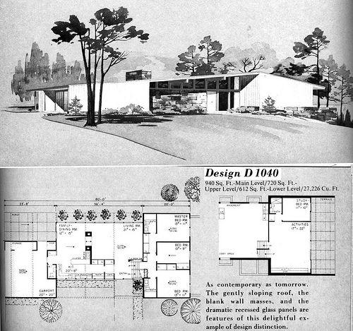 D1040 Mid Century Modern House Plans Mid Century Modern House Vintage House Plans