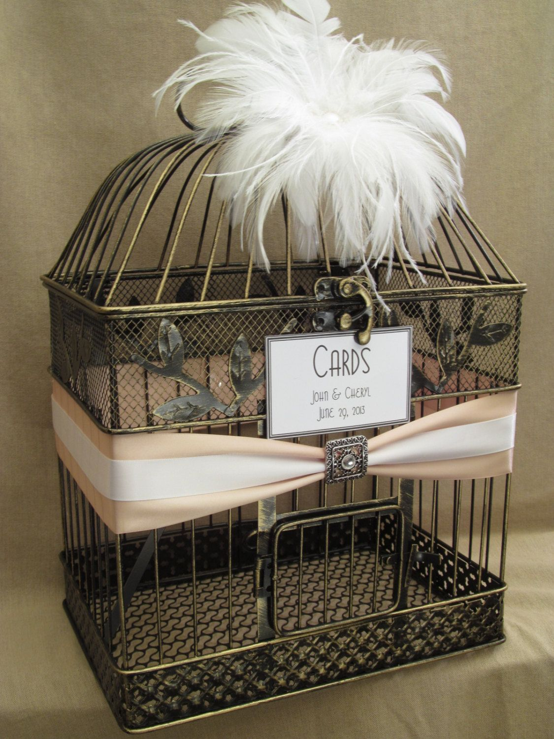 Deluxe Wedding Card Box Holder White Ostrich Feathers Art Deco