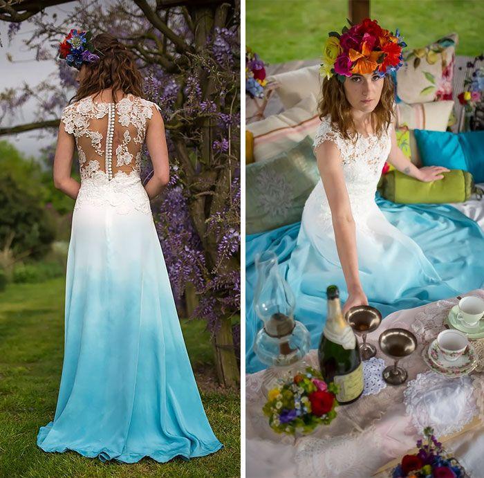 Vestido de noiva degrade azul