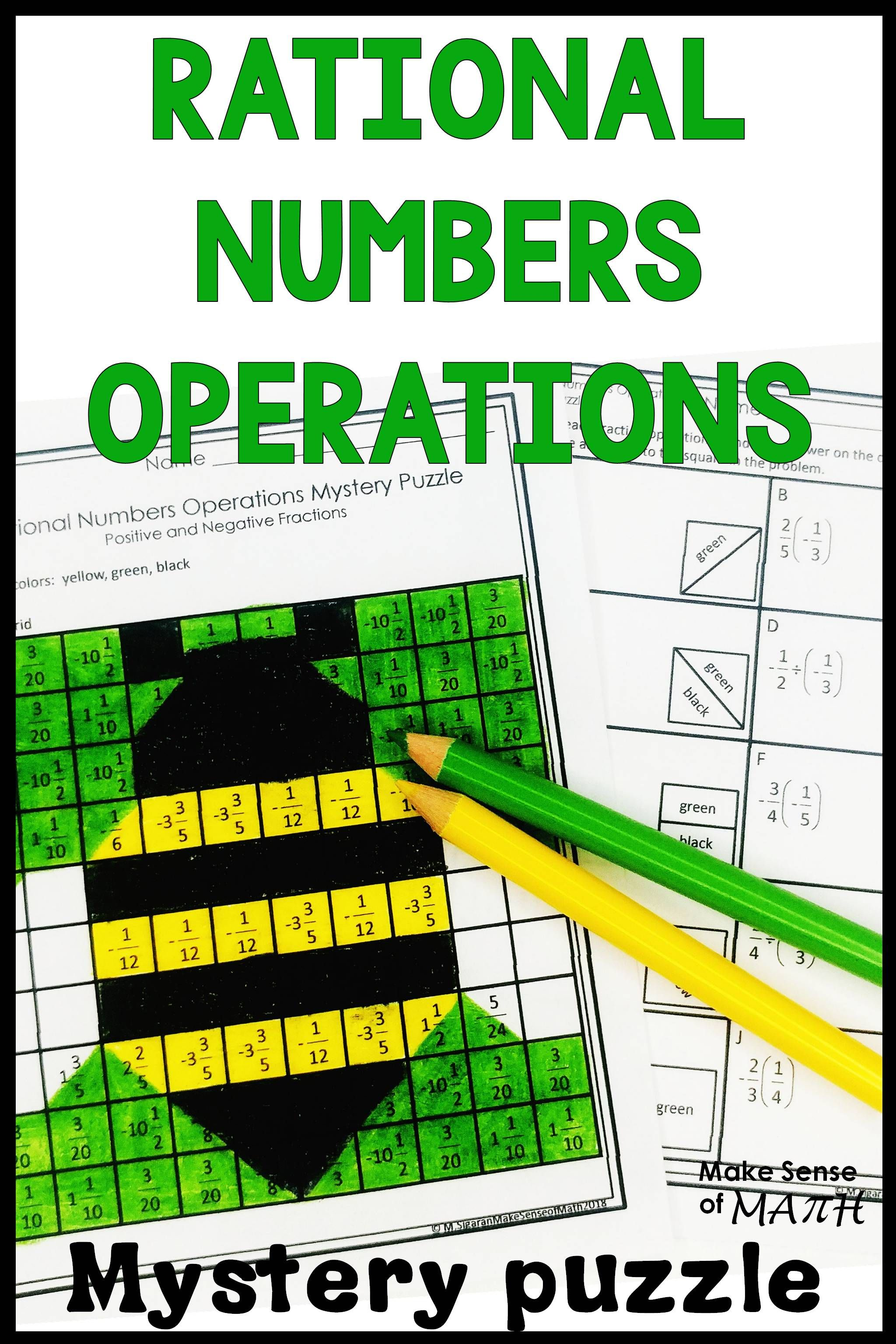Rational Numbers Operations Activity Mystery Puzzle Positive Negative Fractions