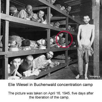 Elie Wiesel in Buchenwald concentration camp.  The picture was taken on April 16, 1945 five days after liberation of the camp.