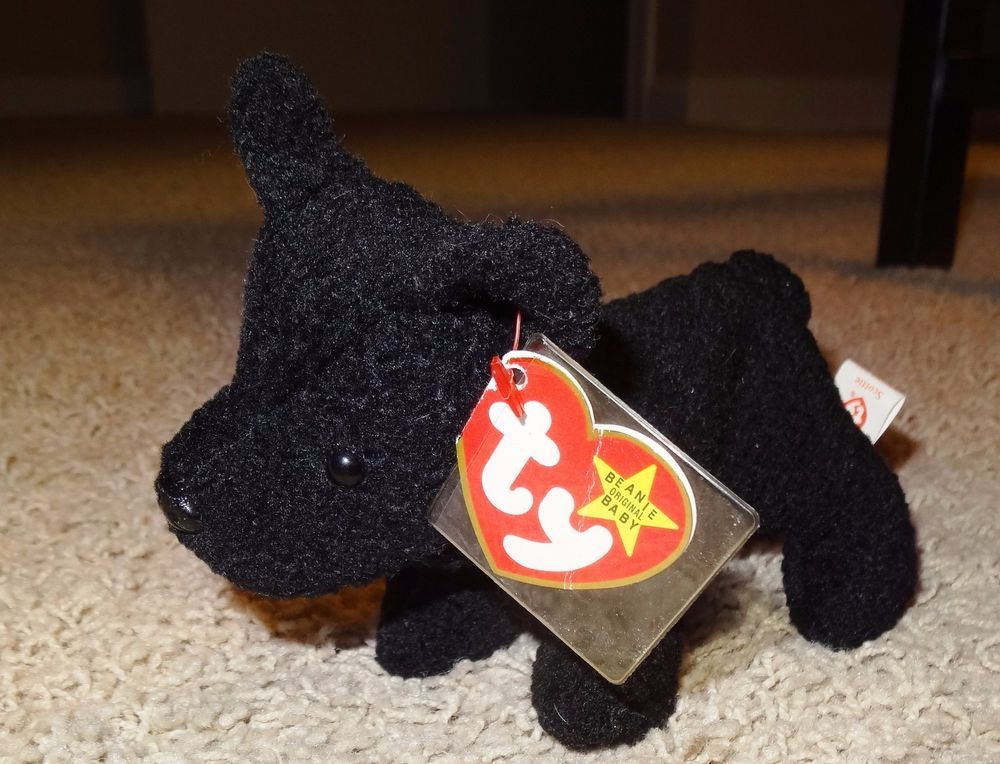 44025753e98 TY Beanie Baby Scottie Dog PVC Pellets Black 1996 Retired - TH  Ty ...