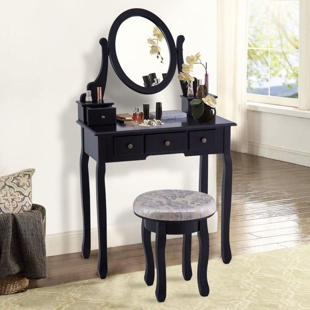 5 drawers makeup dressing table set black vintage mirrored vanity