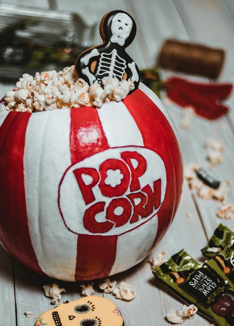 Halloween Pumpkin Decorating Ideas Pop Corn Pumpkin DIY