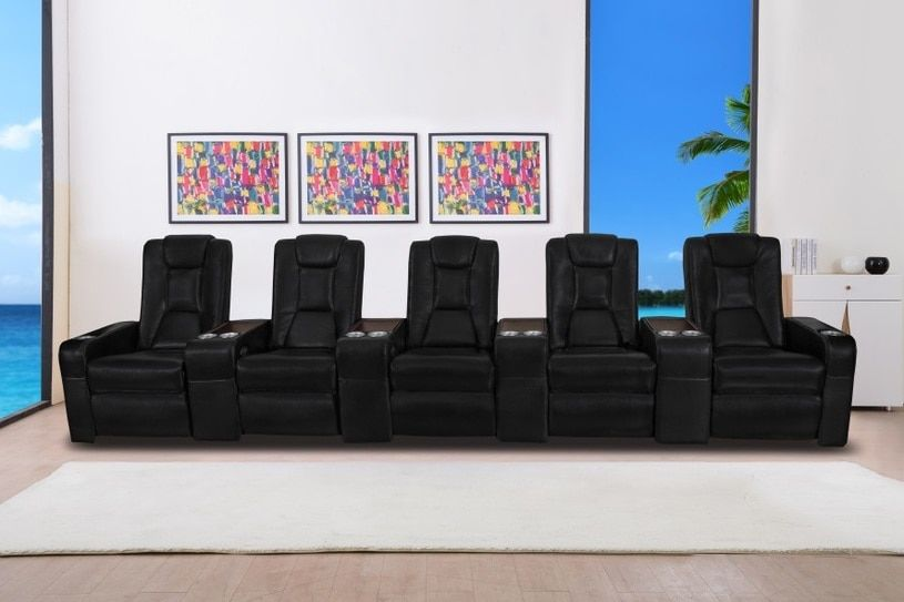 Home theater recliner lounges italian leather with