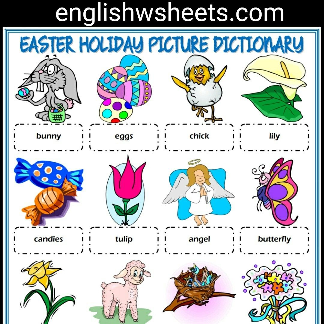 Easter Holiday Esl Printable Picture Dictionary For Kids