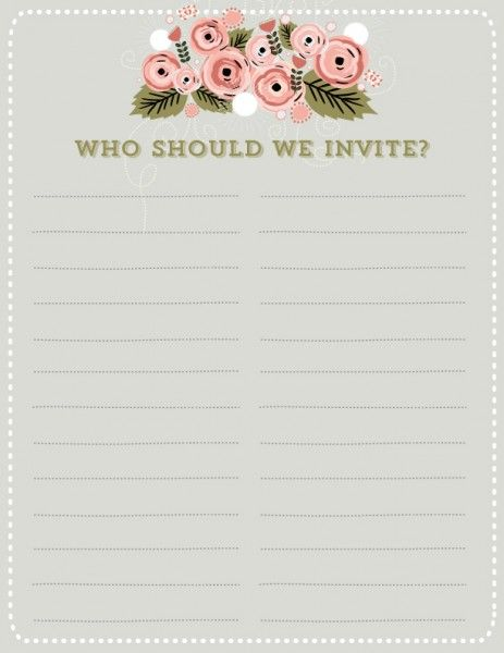 How to trim your guest list in 3 easy steps from Simply Wed - free printable guest list