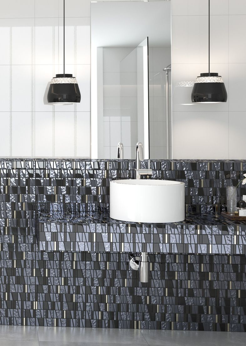 Black and white bathroom featuring Kappa Quartz mosaic glass tile ...