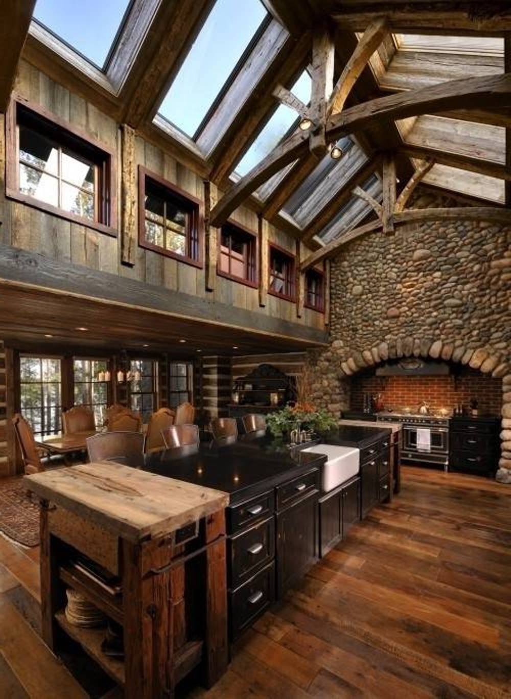 rustic kitchen design. Would look awesome in a Cabin/Lodge ...