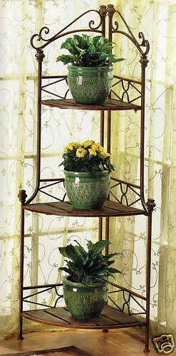 Details About Bronze Brown Corner Metal Wood 3 Shelf Flower Pot