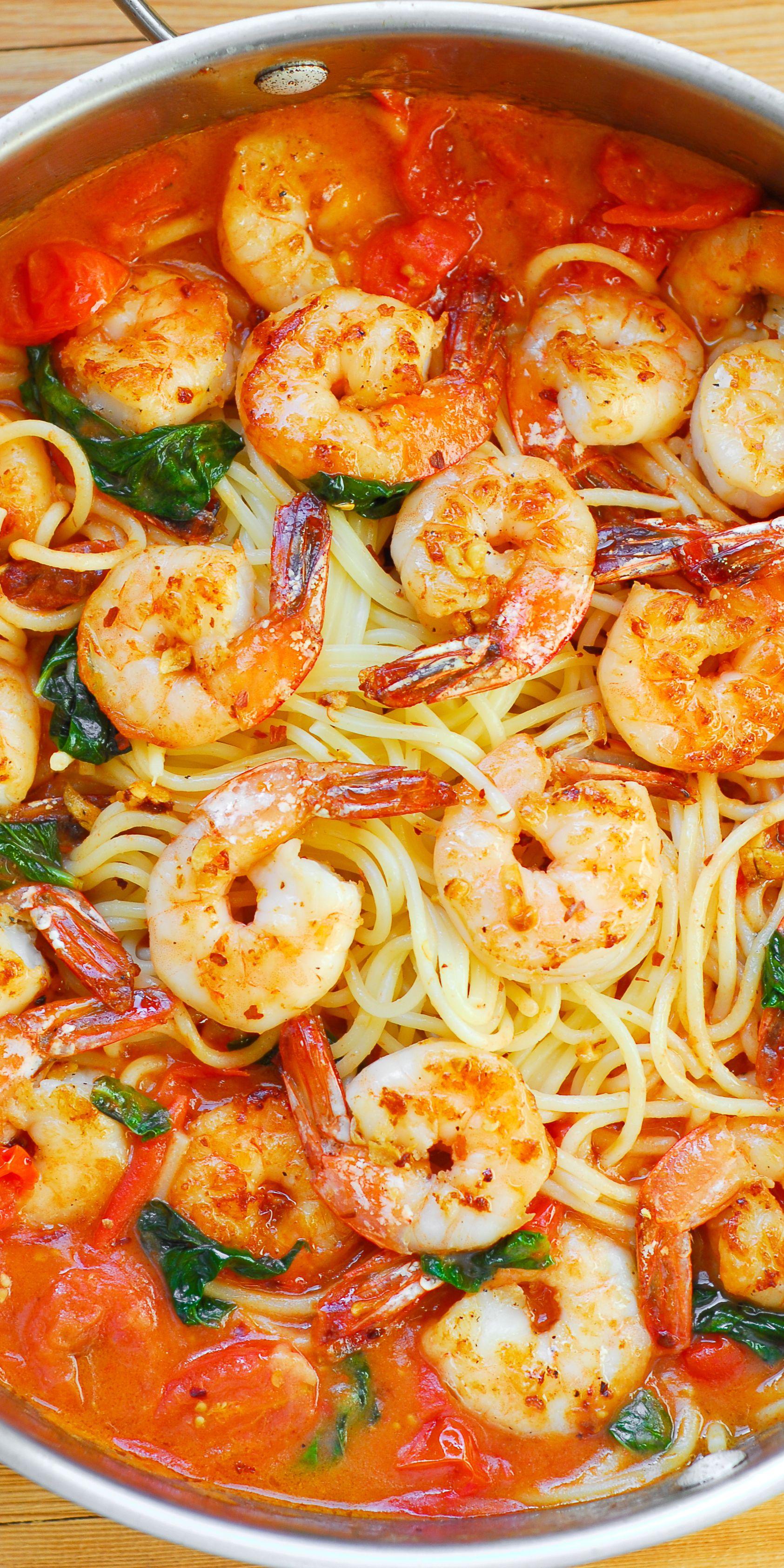 Garlic Shrimp Pasta in Red Wine Tomato Sauce #shrimppasta