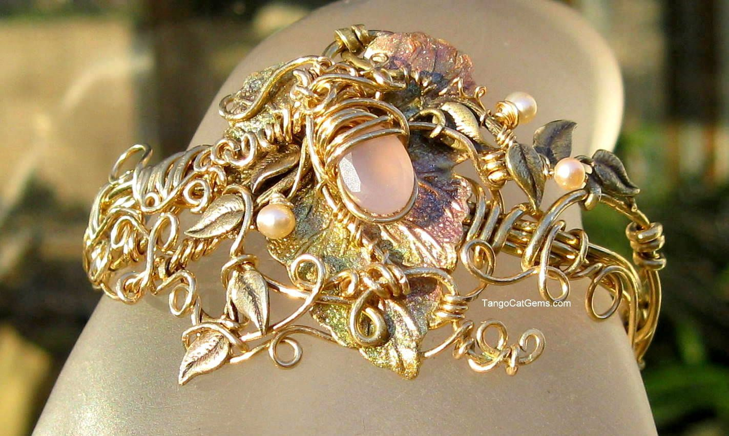 Pastel Garden Wire Wrapped Vine Bracelet by TangoCatGems on Etsy