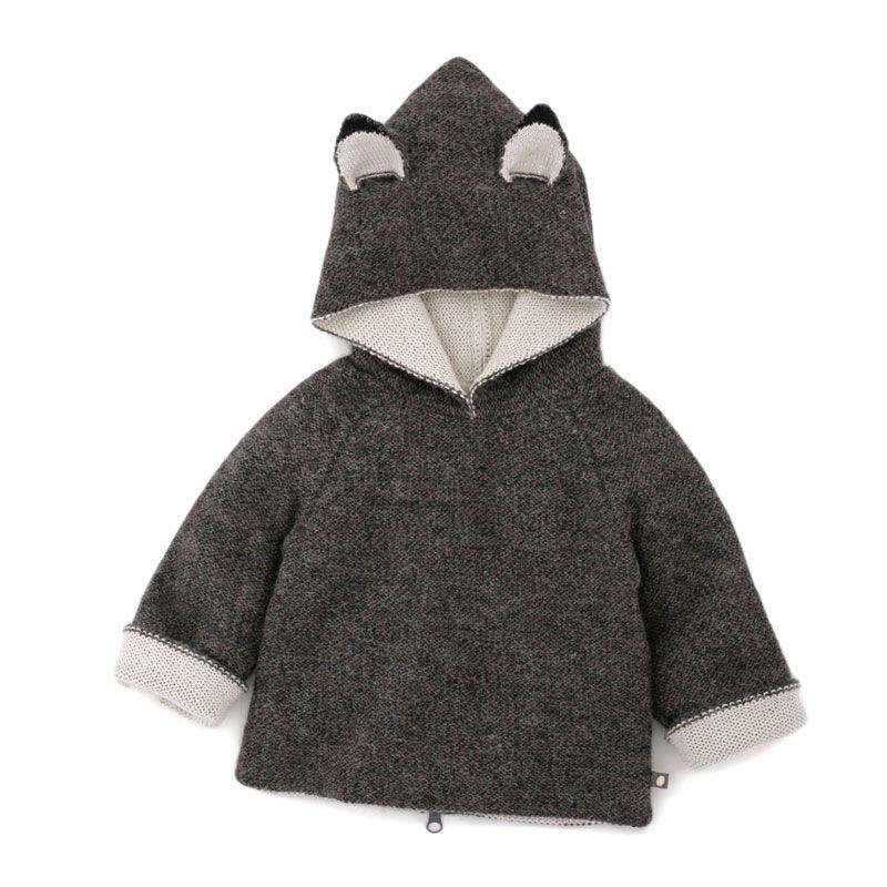 REVERSIBLE ANIMAL HOODIE Wolf #oeufnyc #oeufbegood #Imaginarium #sweater #alpaca #fairtrade #fallwinter #kids #baby #clothes #hoodie
