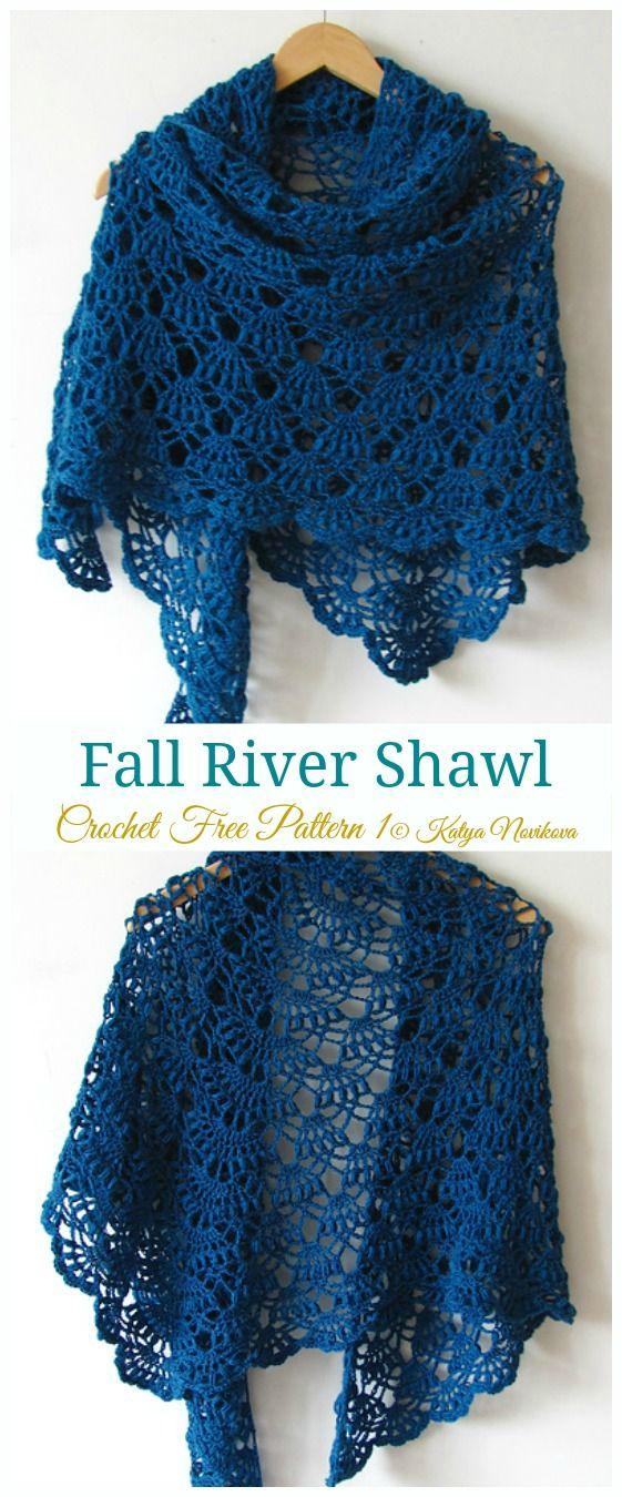 Fall River Shawl Crochet Free Pattern - Women Lace #Shawl; Free #Crochet; Patterns
