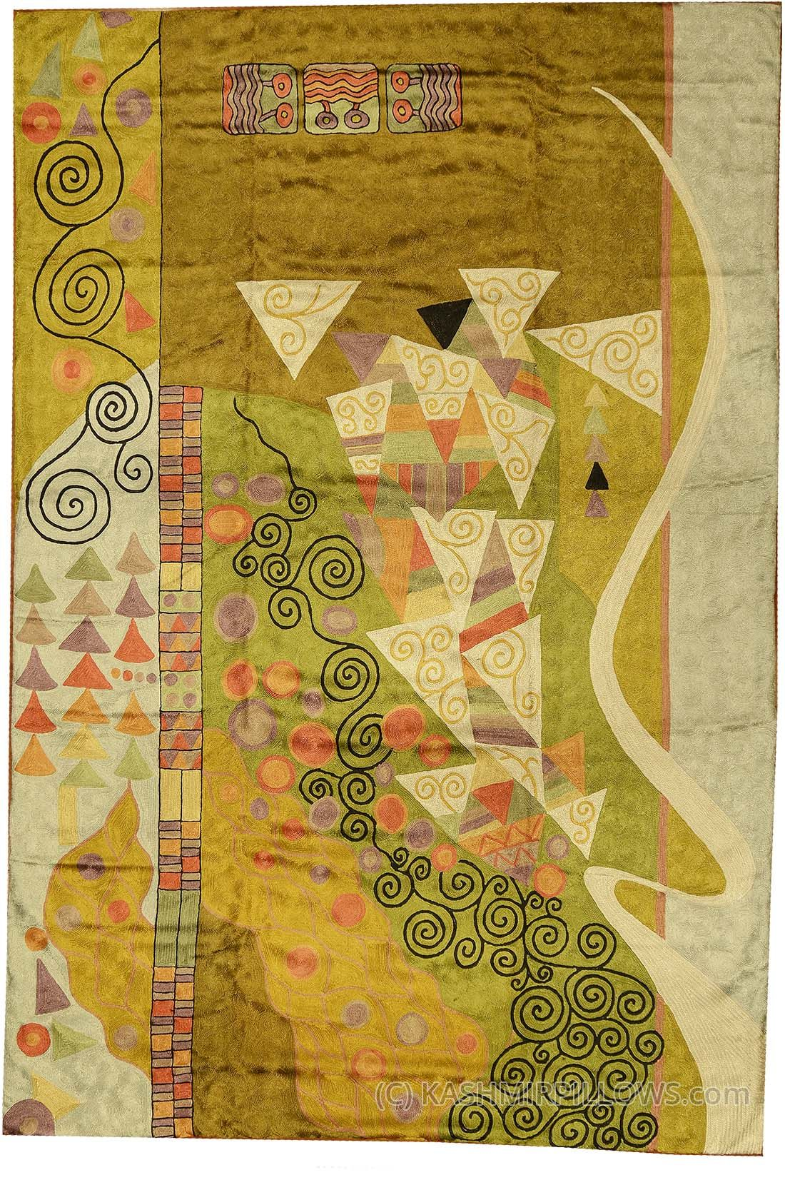 klimt-rugs-abstract-wall-hangings-accent-carpets-hand-embroidered ...