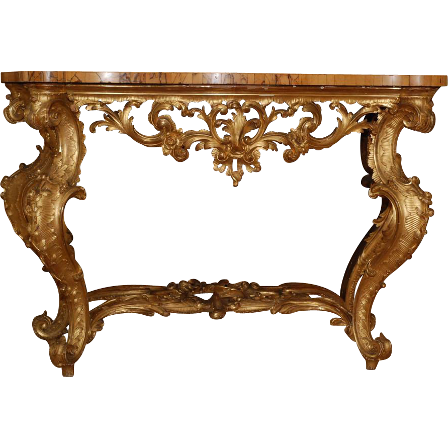 Exceptionnel Italian Console Table, C. 1750, With Original Marble Top