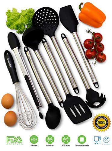 Kitchen Utensil Set And Bathroom Showrooms Utensils 8 Piece Cooking Nonstick Silicone Stainless Steel Kit For Pots Pans Serving Tongs Spoon Spatula Tools Pasta