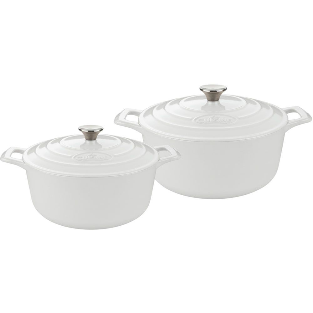 LaCuisine La Cuisine White Enamel 4-piece Round Casserole Set