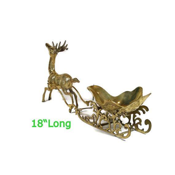 Vintage Christmas Sleigh & Reindeer Decoration Holiday Centerpiece Brass Sleigh Mantle Decor