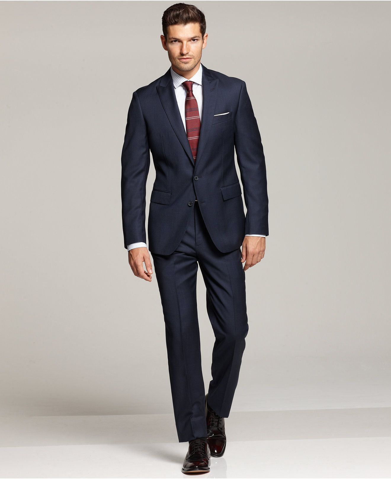 Ryan Seacrest Distinction Blue Plaid Slim-Fit Suit Separates ...