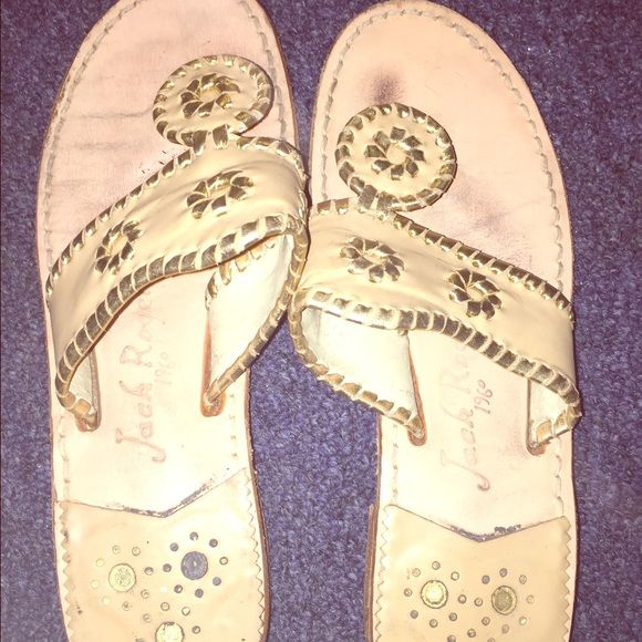 Jack Rogers Nantucket Sandals Gold/camel Leather Lightly worn only marks on bottom of sole. Size 7.5 Jack Rogers Shoes Sandals