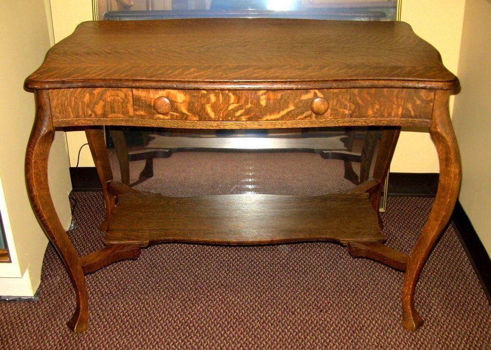 """Details about Antique Oak Mission Library/Desk Table 48"""" x ..."""