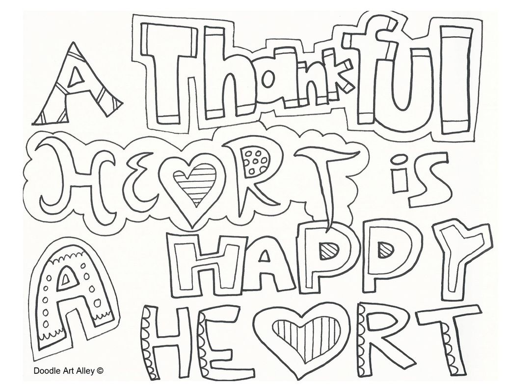 Thankful Heart Is A Happy Heart Happy Doodles Coloring Pages