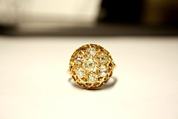 Vintage Victorian Era Old Mine Cluster Diamond Engagement Ring c1880. Wow GLAM!