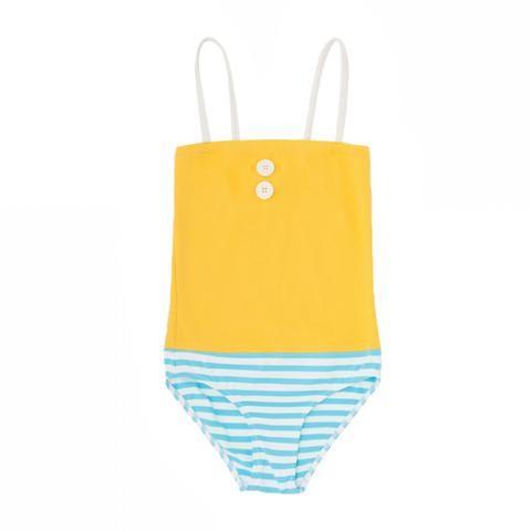 9a7dd2d1f6 Bonton Maillot de Bain 1 Piece 3 Boutons Ray Bleu - Striped One Piece  Bathing Suit with 3 Buttons Blue