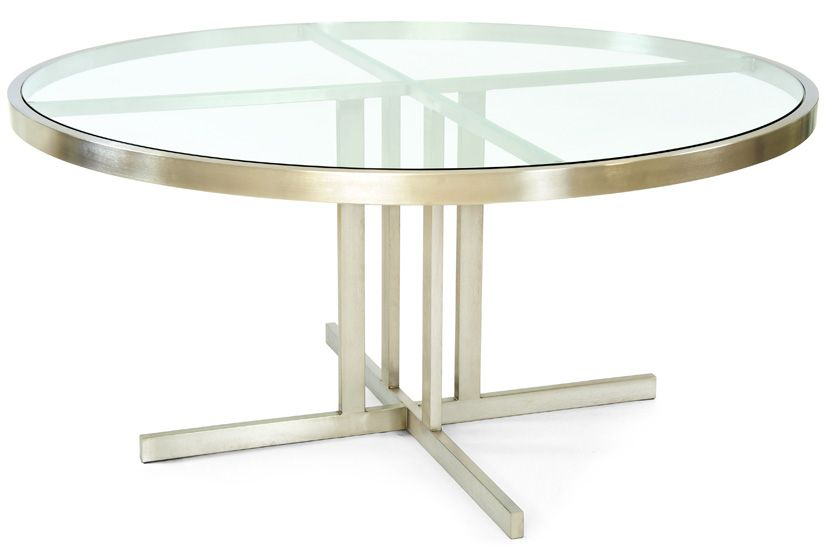 """Case Study Stainless 60"""" Round Table with Glass Top"""