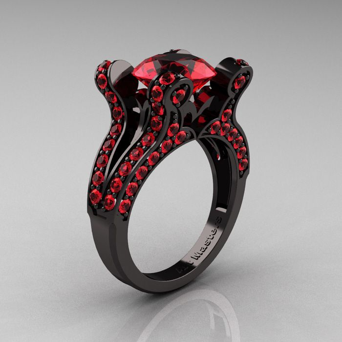 French Vintage 14K Black Gold 3 0 CT Ruby Pisces Wedding Ring
